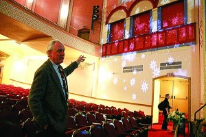 Hunt Brawley, director of the Peoples Bank Theatre, explains the final acoustic needs of the building Tuesday as preparations conclude for the January opening.